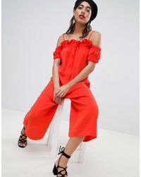Lost Ink - Cold Shoulder Jumpsuit With Button Front And Frill Trim - Lyst