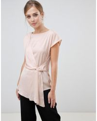 Oasis - Satin Drape Front Top In Pink - Lyst