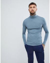 ASOS - Muscle Fit Long Sleeve T-shirt With Roll Neck In Blue - Lyst