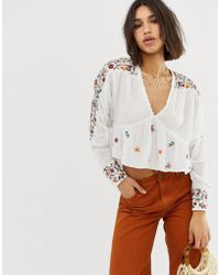 Free People - Embroirdered Blouse - Lyst