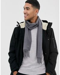 Lacoste Knitted Scarf In Charcoal - Gray