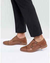 ASOS - Monk Shoes In Tan Leather With Natural Sole - Lyst