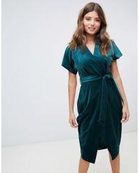Closet - Vestito a portafoglio verde smeraldo - Lyst 754f289bbbd