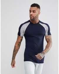 ASOS - Muscle T-shirt With Interest Fabric Shoulder Panels In Navy - Lyst