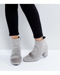 The March | Gray Faux Pony Fur Heeled Ankle Boots | Lyst