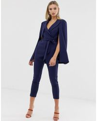Lavish Alice - Tailored Cape Jumpsuit With Storm Flap In Navy - Lyst