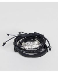 ASOS - Leather And Plaited Bracelet Pack With Feather - Lyst