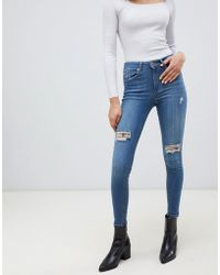 Miss Selfridge - Skinny Jeans With Distressed Rips In Mid Wash - Lyst