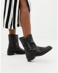 Dune - Rita Black Leather Flat Ankle Boots With Faux Fur Lining - Lyst