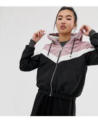 New Look - Fleece Lined Zip Up Jacket In Pink And Black Chevron - Lyst