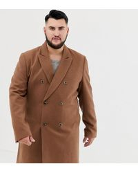 ASOS - Plus Wool Mix Double Breasted Overcoat In Dark Camel - Lyst