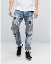 Reason - Distressed Slim Jeans With Camo Patches - Lyst