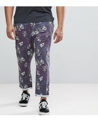 ASOS - Plus Slim Cropped Trousers In Vintage Washed Out Leaf Print - Lyst