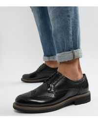 Dune - Wide Fit Brogues In Black Leather - Lyst