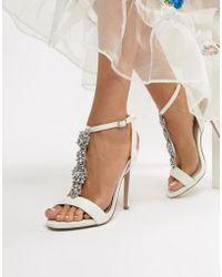 New Look - Satin Embellished Heeled Sandal - Lyst