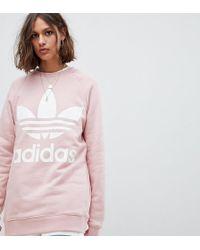 bee1c17852f6 adidas Originals Trefoil Oversized Sweatshirt In Cream in Pink - Lyst