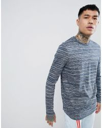 ASOS - Design Longline Long Sleeve T-shirt With Curve Hem In Blue Inject - Lyst