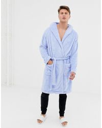 ASOS - Fluffy Robe In Light Blue - Lyst