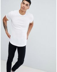 ASOS - Longline Waffle T-shirt With Curve Hem In White - Lyst