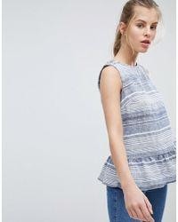Oasis - Stripe Sleeveless Peplum Top - Lyst