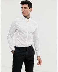 ff9cd856a1a ASOS - Slim Fit Sateen Shirt With Penny Collar   Collar Bar In White - Lyst