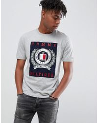 Tommy Hilfiger - Embroidery Crest Patch Applique Fashion Slim Fit T-shirt In Grey Marl - Lyst