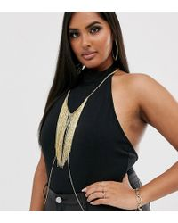ASOS Asos Design Curve Body Chain With Chain Fringe In Gold Tone - Metallic