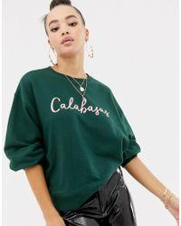 Missguided - Calabasas Slogan Sweatshirt In Green - Lyst