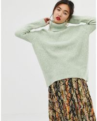Mango - Roll Neck Jumper In Green - Lyst