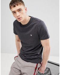 Original Penguin - Small Logo T-shirt Slim Fit In Charcoal - Lyst