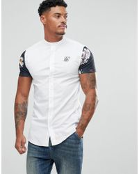 SIKSILK - Muscle Shirt In White With Floral Sleeves - Lyst
