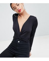 ASOS - Asos Design Petite Body With Long Sleeves And Knot Front Plunge - Lyst