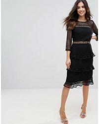 Liquorish - Layered Lace 3/4 Sleeve Midi Dress - Lyst