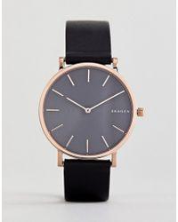 Skagen - Skw6447 Hagen Slim Leather Watch In Black 38mm - Lyst