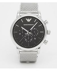 Emporio Armani - Ar1808 Chronograph Watch With Stainless Steel Mesh Strap - Lyst