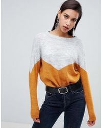 Vero Moda - Color Block Knitted Sweater - Lyst