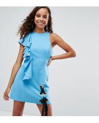ASOS - Scuba Eyelet Tie Up Ruffle Mini Dress - Lyst