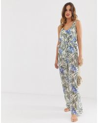 Y.A.S Sheer Beach Jumpsuit In Tropical Print - Multicolour