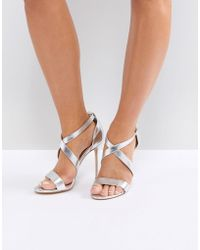 Office - Harper Silver Strappy Heeled Sandals - Lyst