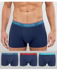 Tommy Hilfiger | 3 Pack Trunks In Contrast Waistbands In Navy | Lyst
