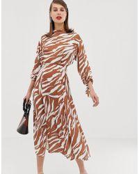 ASOS - Zebra Print Midi Dress - Lyst