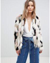 Lavand - Multi Coloured Faux Fur Jacket - Lyst
