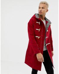 Pull&Bear - Abrigo de lana con cordones en rojo de - Lyst
