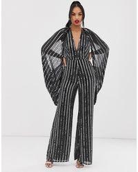 ASOS Cape Sleeve Jumpsuit In Sequin Stripe - Black