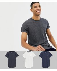 Hollister - 3 Pack Curved Hem T-shirt Seagull Logo In White/navy/grey - Lyst