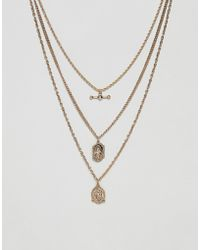 ASOS - Vintage Style Multi Chain Necklace With St Christopher Pendants In Gold Tone - Lyst