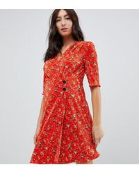 de445756b2249 ASOS Asos Design Maternity Mini Plisse Dress With Button Detail in Blue -  Save 29% - Lyst