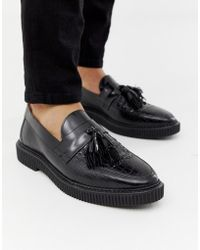 bb1f91bf62c House Of Hounds - Kain Creeper Tassel Loafers In Black Croc - Lyst