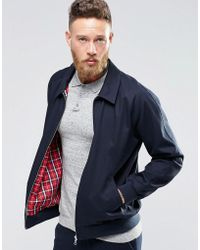 ASOS - Design Harrington Jacket In Navy - Lyst