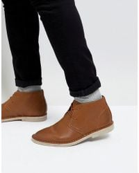 ASOS - Desert Boots In Tan Faux Leather - Lyst